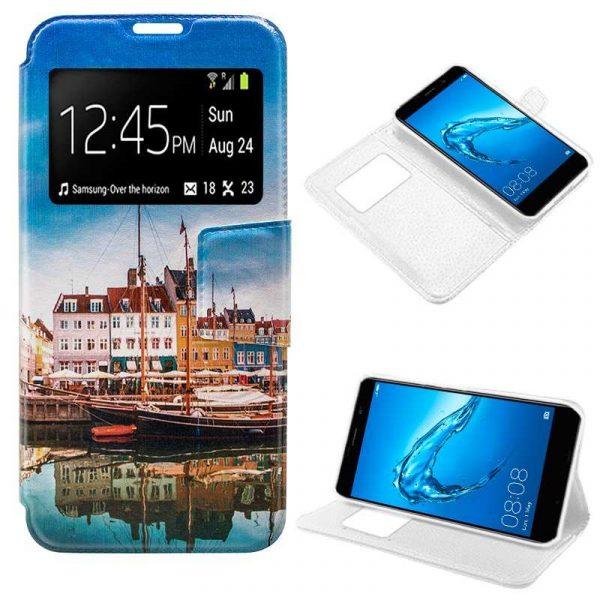 Funda Flip Cover Huawei Y7 Dibujos Lago 1