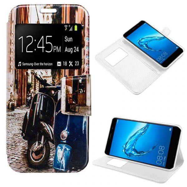 Funda Flip Cover Huawei Y7 Dibujos Moto 1