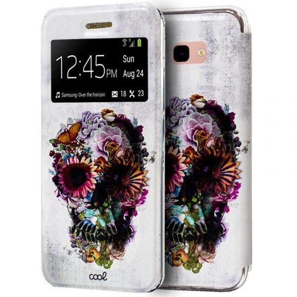 Funda Flip Cover Samsung Galaxy J4 Plus Dibujos Calavera 1