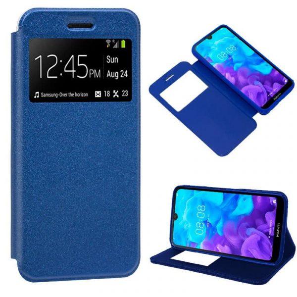 Funda Flip Cover Huawei Y5 2019 Liso Azul 2